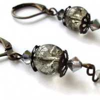 Smokey Grey Earrings Glass Beads Gray Lever back | LittleApples - Jewelry on ArtFire