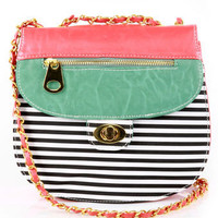 Cute Striped Coral Vegan Purse - $31.00