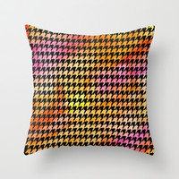 Houndstooth orange on black watercolor Throw Pillow by CAPow!