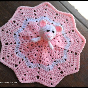 Maggie Bear Mini Lovey, corchet baby from homespun accessories