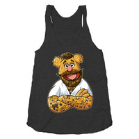 Hipster Fozzie on a Tri Blend Black Racerback