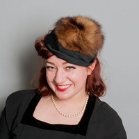 50s Fisher FUR & Black Fabric HAT / Quirky Winter Topper