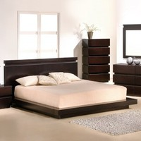 Modern Contemporary Wenge Platform Bedroom Set - Opulentitems.com