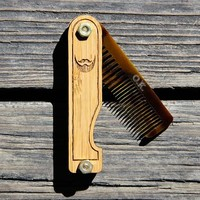 Personalized Handmade Folding Wood Beard Comb by mini-Fab | Hatch.co