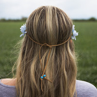 Small Blue Daisy Glitter Flower Crown