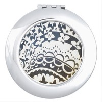 Black and White Abstract Floral Compact Mirror