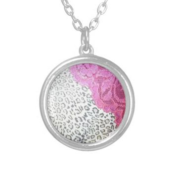 Cheetah Print Hot Pink Lace Pendant