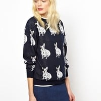 Peter Jensen French Bulldog Intarsia Jumper