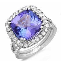 Foreli 14K White Gold Diamond Tanzanite Halo Ring - 			        	Festival Fashion Shop