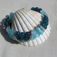 "Teal Jade & Aqua Cat's Eye Crystal Gemstone Bracelet - ""Curacao"""