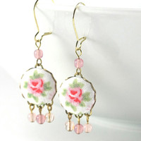 Dangle Earrings - Shabby Chic Roses - Pink Green Flowers on White Fabric Covered Buttons Earrings with Czech Glass Beads Bridal Wedding