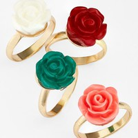 Topshop Flower Midi Rings (Set of 4) | Nordstrom