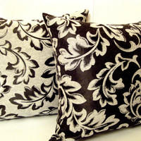 Dancing Leaves – Black pearl grey cotton sateen pillow 18x18