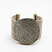 Free People Embossed Disc Bracelet