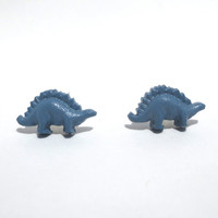 Stegosaurus Dinosaur Earrings Blue Free Shipping