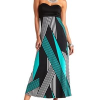 Mixed Stripe Printed Strapless Maxi Dress
