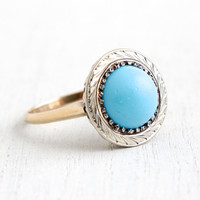Antique Art Deco 10k Yellow & White Gold PersianTurquoise Ring - Vintage Size 7 1920s 1930s Etched Round White Gold Fine Jewelry