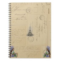 Paris Postcard Bird on Lilacs pial Notebook