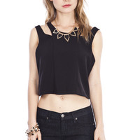 Double Strap Black Crop Top
