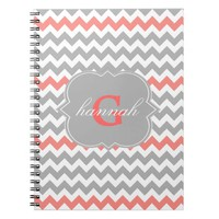 Gray Coral Chevron Monogram Notebook