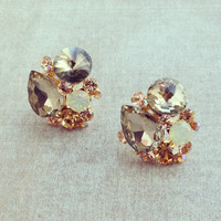 Golden Starry Clusters Earrings