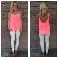 Neon Pink Low Back Chiffon Tank