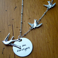 "Divergent Inspired Necklace. Tris quote ""I am divergent"". Three Flying Birds Tattoo. Silver colored, charm pendant, hand stamped jewelry."