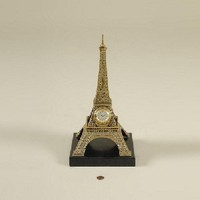 Maitland Smith Antique Finished Cast Brass Table Clock, Eiffel Tower Motif, Black Waxstone Base