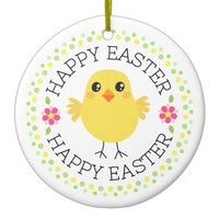 Cute chicken polka dot border Happy Easter
