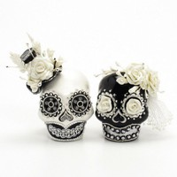 Black White Day of Dead Theme Wedding Cake Topper Handmade Love Never Die Couple Sugar Skull 00137 | sweetiecaketopper - Wedding on ArtFire