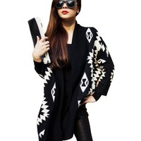 Imixcity Women's Cardigan Sweater Batwing Long Sleeve Geometric Tribal Aztec