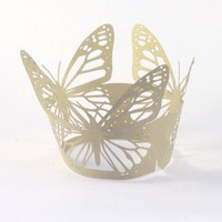 12 butterfly cupcake wrappers in gold paper by Paperfiction