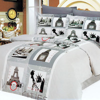 Paris Eiffel Tower Bedding 6pc Duvet Cover Sets Full/Queen Teen Girl - World Scenes