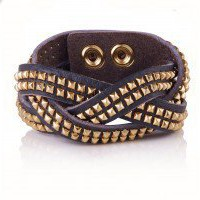 Leather Plaited Studded Bracelet | Clothing | Oliver Bonas