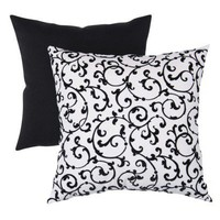 Decorative Flocked Damask Square Toss Pillow - Black/White