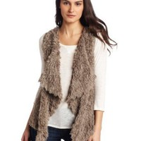 Kensie Women's Shaggy Faux Fur Vest, Mushroom, Medium