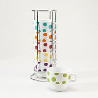 White Polka Dot Stacking Mugs, Set of 6