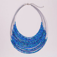 Blue Beaded Multistrand Necklace 