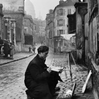 Young Artist Paints Sacre Coeur from the Ancient Rue Narvins Photographic Print by Ed Clark at eu.art.com