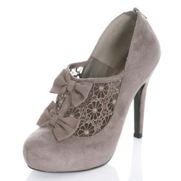 SEAL Grey Bow Lace Heel - View All  - Shoes  - Miss Selfridge