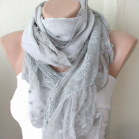 Light Grey Scarf from coton with ruffle tulle by Periay on Etsy