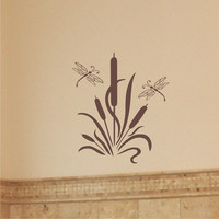 Cattails with Dragonflies - Vinyl Wall Art Decal