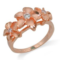 Three Plumeria Ring with 14K Rose Gold Finish