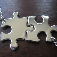 Best Friend Necklaces Two Silver Puzzle Piece by GorjessJewellery