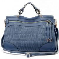 Casual Chic Texture Weave Blue Leather Tote Bag. Satchel. Weekend Bag | GlamUp - Bags & Purses on ArtFire
