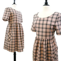 80s 90s Grunge Dress Babydoll Shadow Plaid Pink Black Indie Kinder Mini M