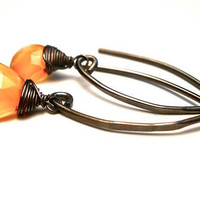 Tangerine Earrings in Oxidized Sterling by OddsAndEndsByKaley