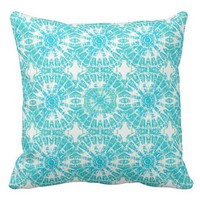 Tiffany Blue and White Tie Dye Print Pillow