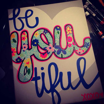 Be you-tiful floral and heart canvas painting