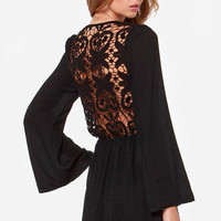 Reverse Crochet Back In the Day Black Lace Dress
